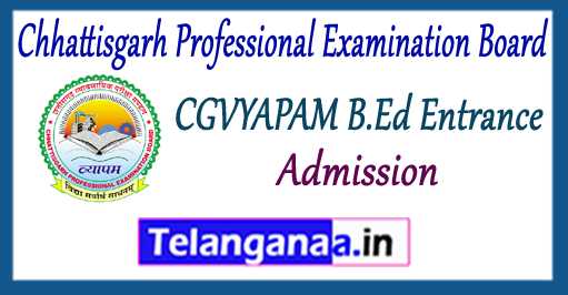 CGVYAPAM Chhattisgarh Professional Examination Board B.Ed Admission Application 2018 Admit Card