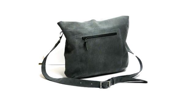 Серая кожаная сумка через плечо: натуральная кожа, сумка с карманом, повседневная городская