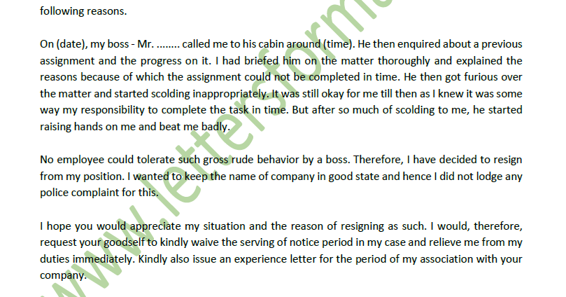 resignation letter due to bad behaviour of boss sample