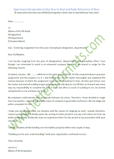 how to write a resignation letter due to hostile work environment