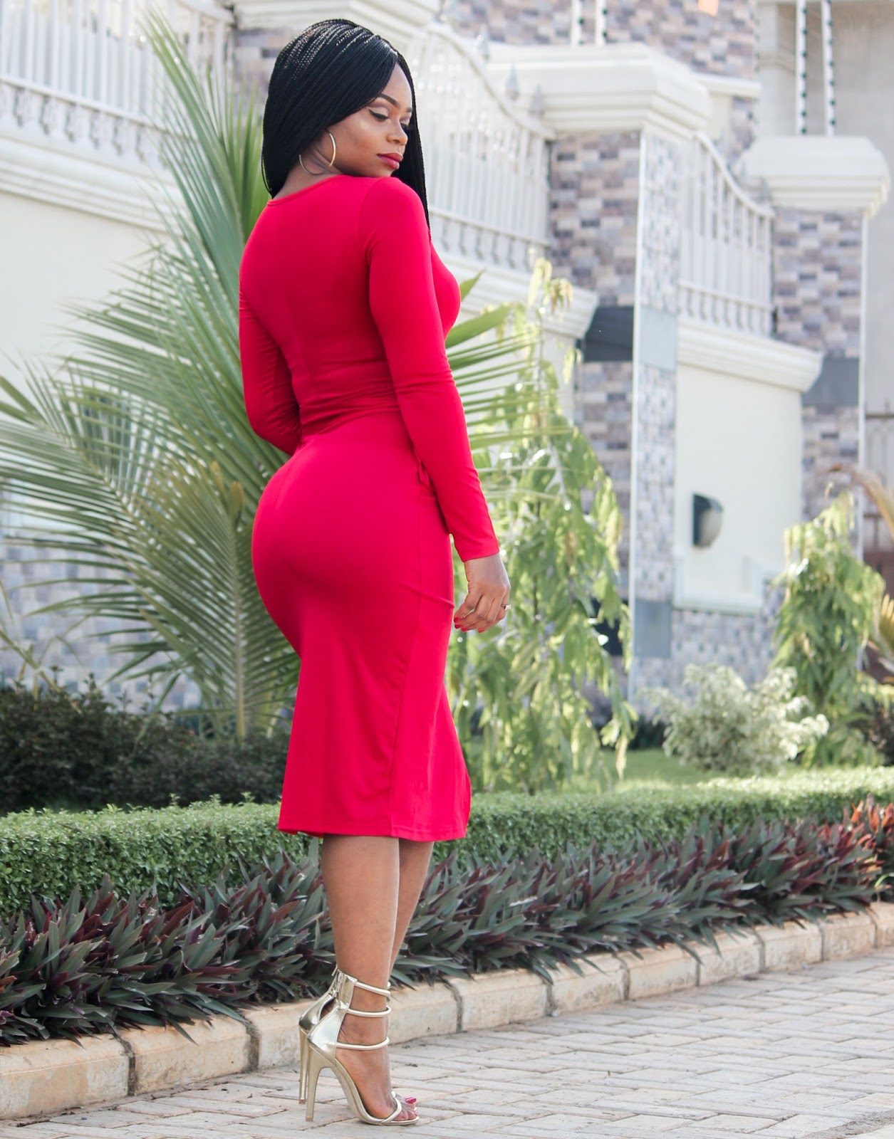 RED SLIT DRESS - Red Bodycon Dress with slit from SammyDress