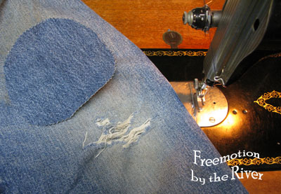 Mending jeans on my vintage Singer
