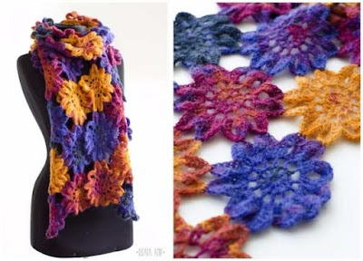 Bufanda crochet motivos florales primavera