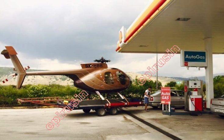 Ασυνήθιστο θέαμα στα Γιάννενα: Πήγε στο βενζινάδικο… ρυμουλκώντας ελικόπτερο!!