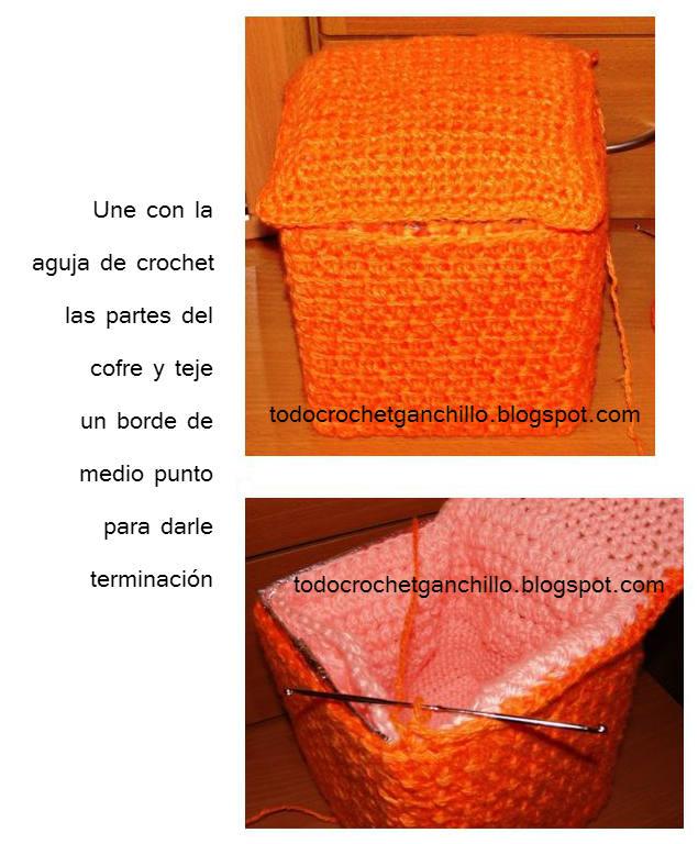 unir la caja con crochet paso a paso