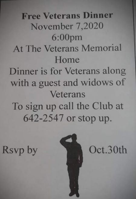 11-7 Free Veterans Dinner At The Veterans Memorial House