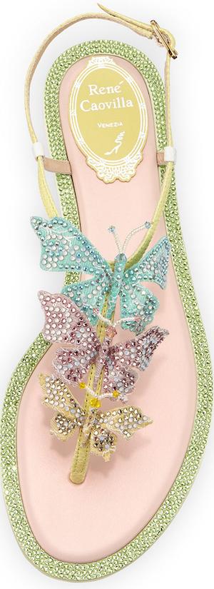 Rene Caovilla Crystal Butterfly T-Strap Sandal, Multi