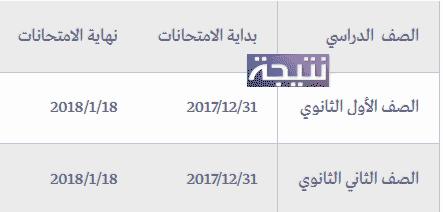 جدول امتحانات الترم الأول الثانوية العامة 2017 / 2018 نصف العام جميع المحافظات
