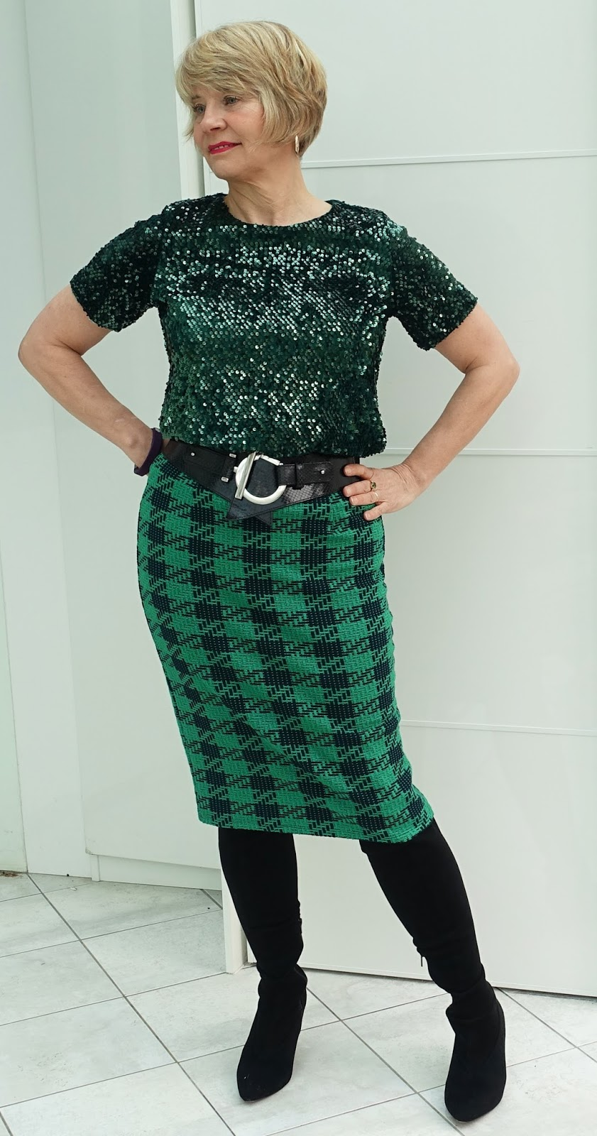 Image showing over 45s fashion blogger Gail Hanlon wearing green sequin top with work attire