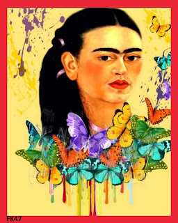 frida kahlo fabric block butterflies