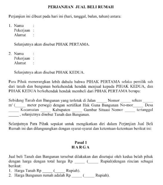 Contoh Surat Resmi Perjanjian Jual Beli Rumah dan Syarat Umum Format Word