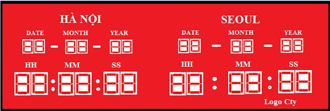 Đồng hồ điện tử theo múi giờ Hà Nội - Seoul