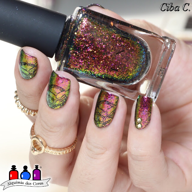 ILNP, Eletric Carnival, Ultra Chromes Flakies, multichrome, flocado, Ciba C, Uber Chic Beauty, Semana Livre