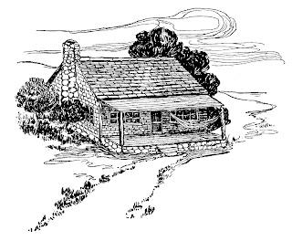 log cabin house image digital download illustration drawing design