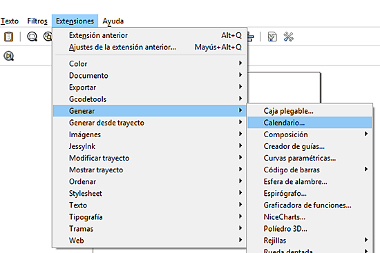 menu extenciones calendario