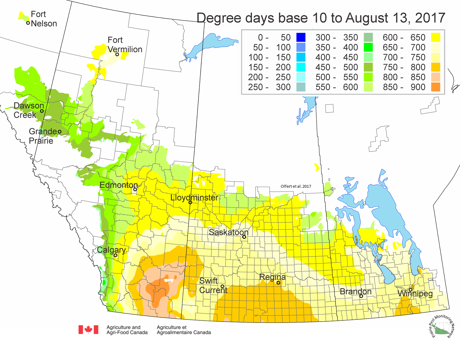 Prairie Pest Monitoring Network Blog Weekly Update Aug - Gdd base 50 map us