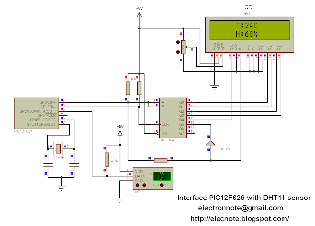 Interfacing PIC12F629 with DHT11 sensor circuit mikroc