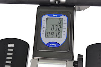Multi-function LCD performance monitor displays strokes per minute, row count, time, distance, speed, calories, on Stamina 35-1405 ATS Air Rower