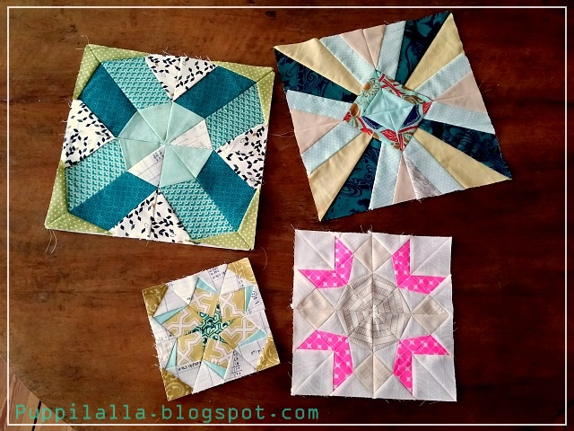 Puppilalla Finished Paper Foundation Piecing Sampler Quilt Blocks