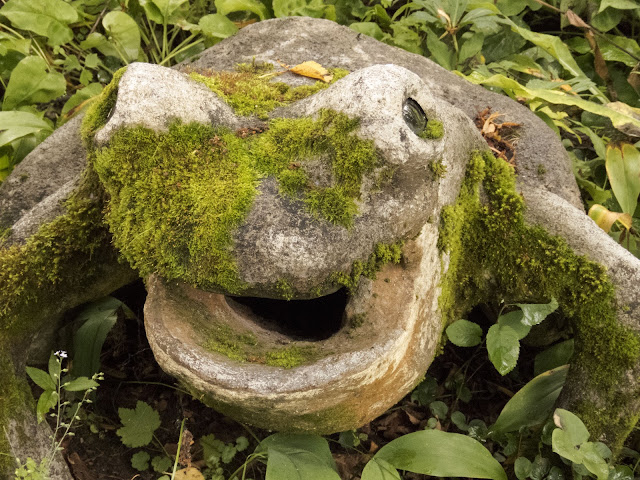 Mossy frog at the Parikkala Sculpture Park roadside attraction in Finland