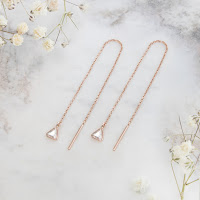 Rose gold threader earrings with rose cut diamonds