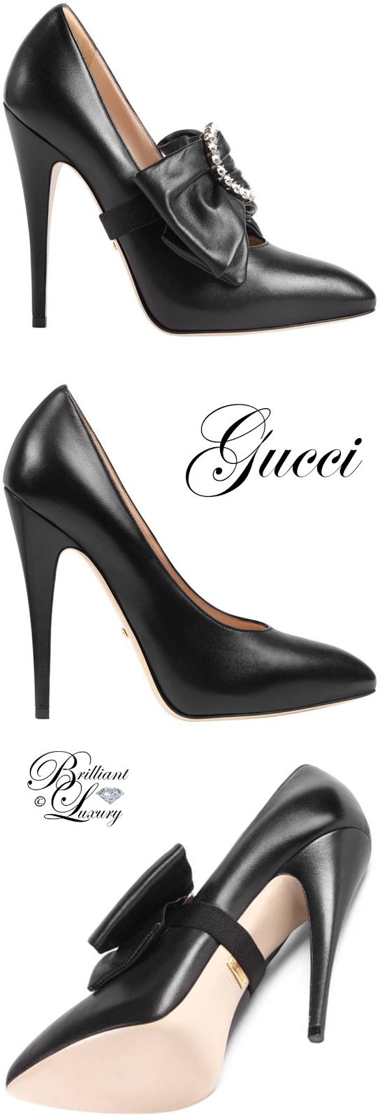 Brilliant Luxury ♦ Gucci Leather Pump With Removable Leather Bow