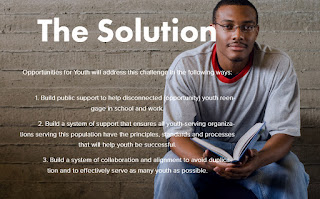 Image of a young man smiling into camera with a book in hand.  Text: The Solution. Opportunities for Youth will address this challenge in the following ways: 1. Build public support to help disconnected youth reengage in school and work. 2. Build a system of support that ensures all youth-serving organizations serving this population have the principles, standards and processes that will help youth be successful.  3. Build a system of collaboration and alignment to avoid duplication and to effectively serve as many youth as possible.