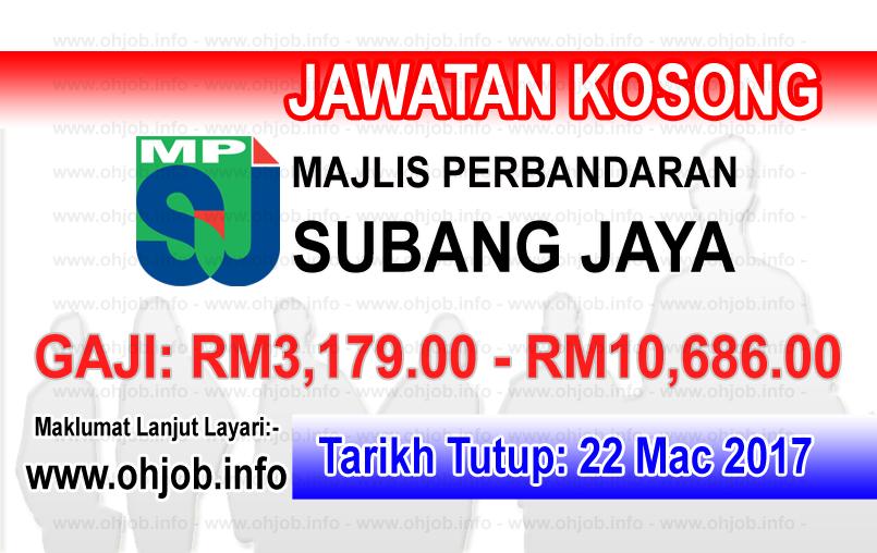 Jawatan Kerja Kosong MPSJ - Majlis Perbandaran Subang Jaya logo www.ohjob.info mac 2017
