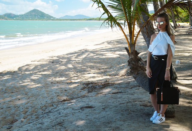outfit white shirt and black skirt with adidas superstars