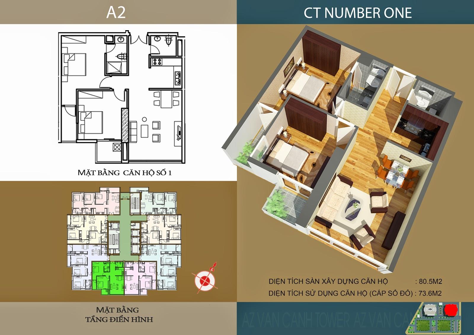 Căn số 1 - Diện tích 80.5m2 tại tòa A2 Chung cư CT Number One