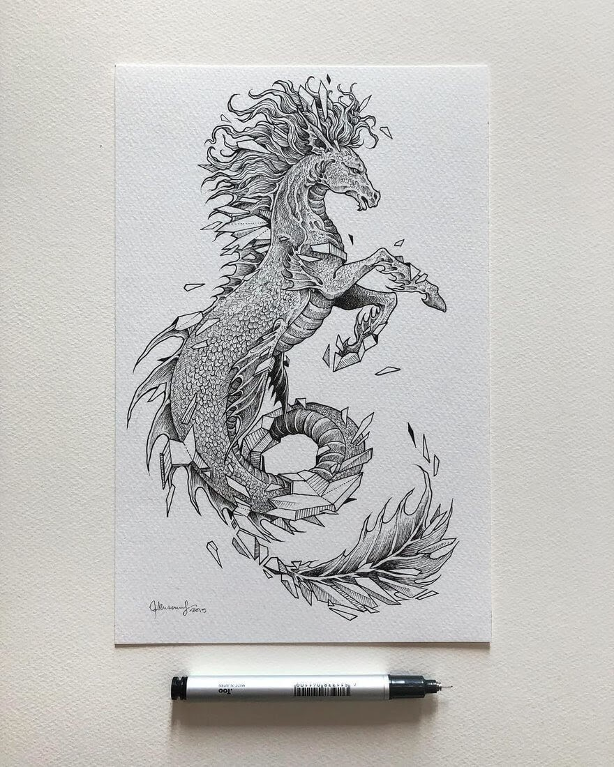 07-Mythical-Hippocampus-Kerby-Rosanes-Free-Hand-Detailing-and-Doodling-www-designstack-co