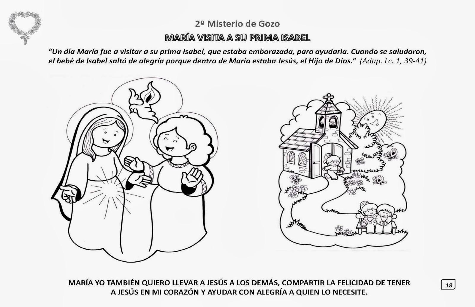 Las Misiones Y Los Niños Dibujos Para Colorear De Niños: PARA COLOREAR: Los Misterios Del Santo Rosario Para Iluminar