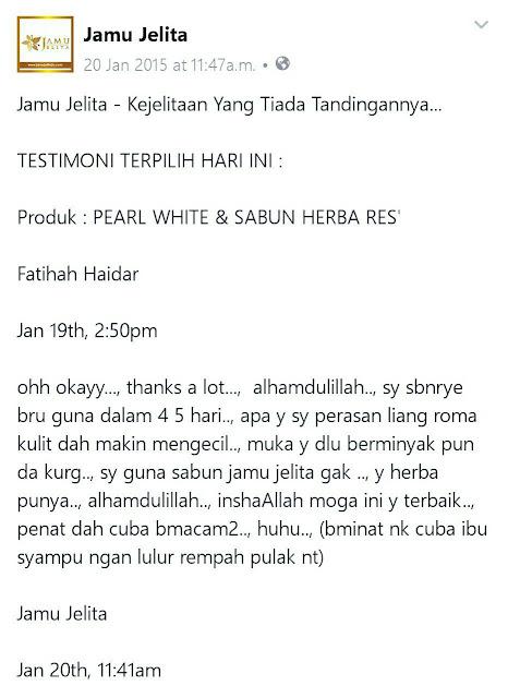 Testimoni Sabun Herba Res' Jamu Jelita