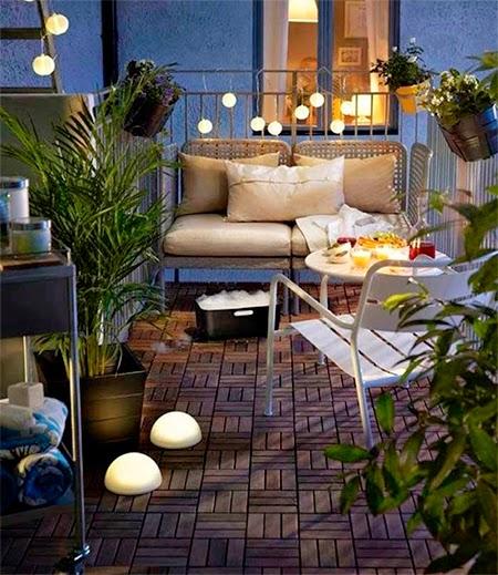 varanda de apartamento iluminada