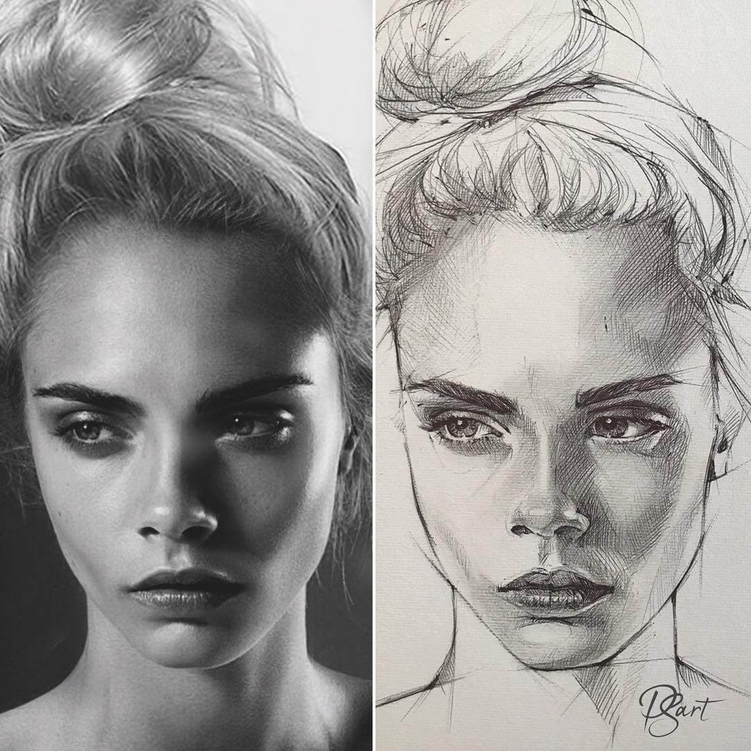 02-Cara-Delevingne-Pepper-Strokes-Traditional-Drawings-Pencils-and-Pens-www-designstack-co