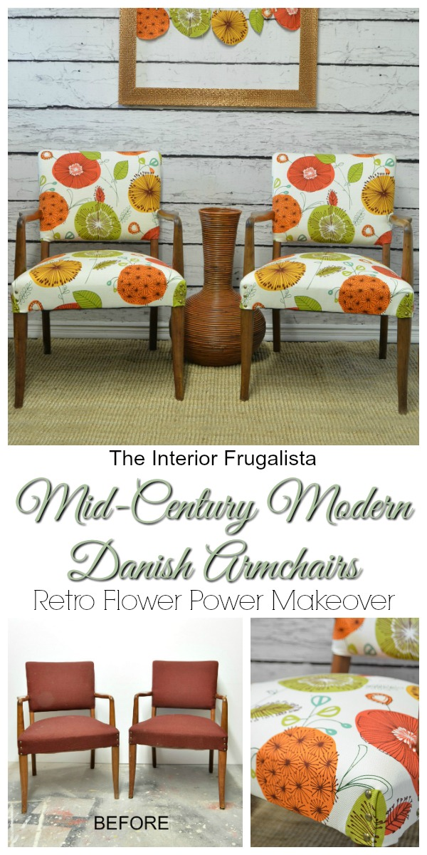 Mid Century Modern Danish Armchairs Before and After