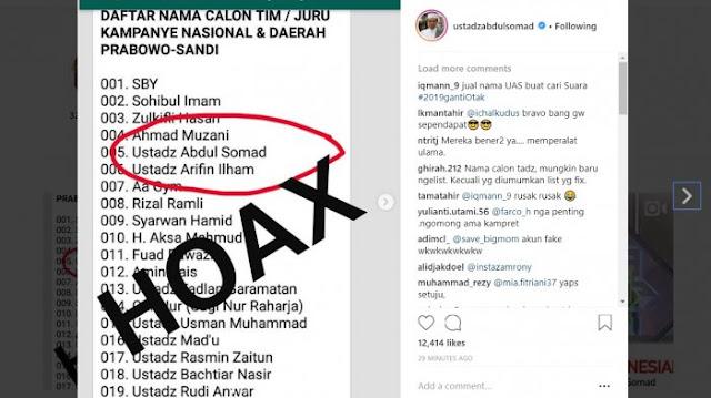 Ustadz Abdul Somad Diserang Hoax, Disebut Jadi Jurkam Prabowo-Sandi