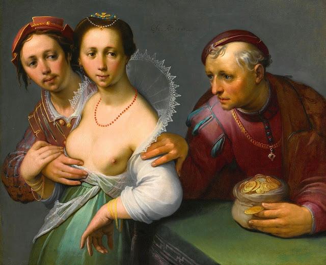 Cornelis Van Haarlem - La scelta tra Vecchio e Giovane - erotismo - arte
