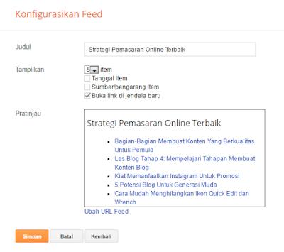 Cara Memasang Widget Feed di Blogger