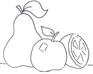 desenho de frutas para pintura em tecido