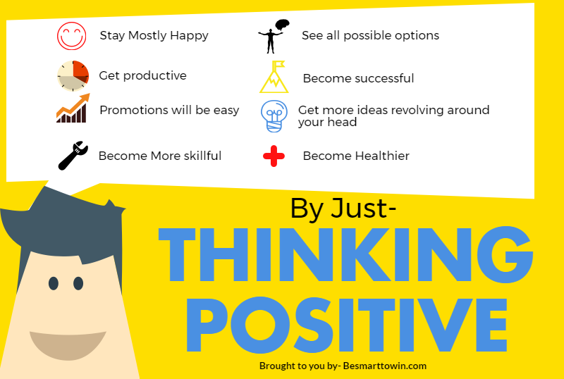 Thinking positive has hundreds of benefits, some them are illustrated with this infographic