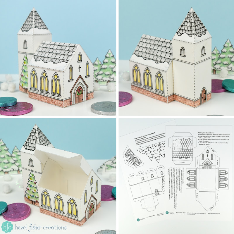 Christmas Church - printable box to colour in a make up yourself - available from hfcSupplies on Etsy. Hazel Fisher Creations