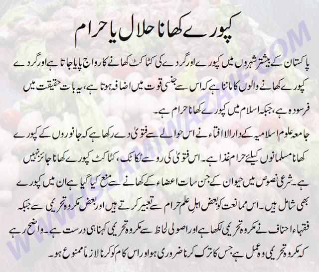 kapooray khana halal ya haram in islam