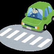 横断歩道の前で止まる車のイラスト