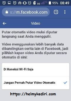 mematikan autoplay video facebook