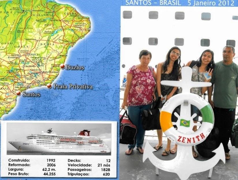 Foto oficial na chegada do Cruzeiro - primeira viagem de navio
