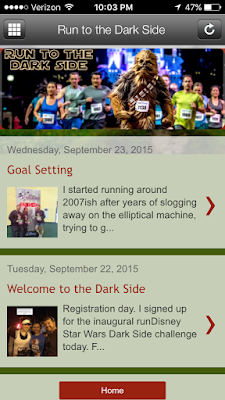 "Mobile view of my blog, ""Run to the Dark Side"""