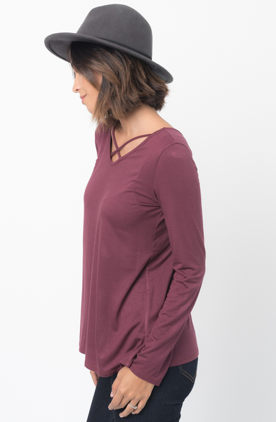 Shop for Red brown Long Sleeves Cross Front Neckline Tee Jersey Tunic Online - $30 - on caralase.com