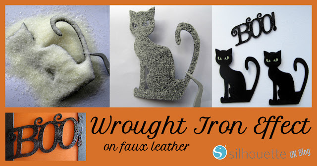Wrought Iron Effect with Faux Leather & heat embosssing by Janet Packer for Silhouette UK Blog