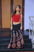 Telugu Actress Nishi Ganda Stills in Red Blouse and Black Skirt at Tik Tak Telugu Movie Audio Launch .COM 0203.JPG